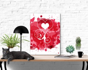 Red Painted Heart Swirl Cutout | 8 x 10 Printable Wall Art | Digital Painting | Digital Download | Wall Decor | Wall Hangings | Printables