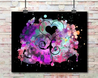 Watercolor Splash Painted Heart Swirls Cutout | Instant Download Digital Print | Printable Wall Art | Print At Home Art For Your Walls | Art