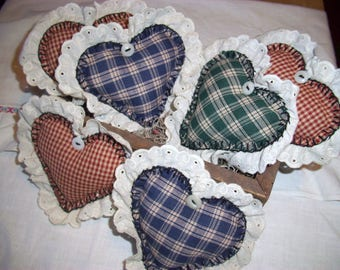 Fabric Hearts, Handmade, Country Primitive Hearts, Bowl Fillers, Scented or Unscented, Home Decor, Home and Living, Party Decor, Eyelet Lace
