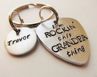 Personalized Guitar Pick Key Ring Fathers Day Gift Grandfather Keychain Hand Stamped Guitar Pick Name Key Ring Gift for Him