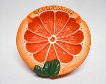 California Orange Fruit Ashtray Vintage Souvenir