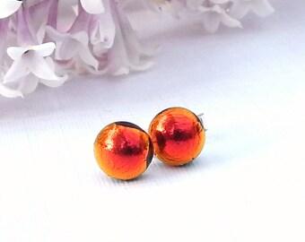 Little Orange Dichroic Glass Stud Earrings on 925 Sterling Silver, Fused Glass Jewellery, Fire Red Art Glass Post Earrings