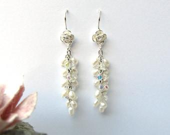 Pearl Bridal Earrings, Long Pearl cluster Earrings, rose flower ,Wedding Earrings, Bridal Jewelry