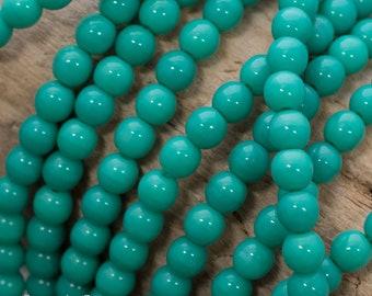 4mm Czech Opaque Turquoise Druk Beads, 4154, 100 Beads, 4mm Turquoise Druk Round Beads
