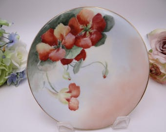 Vintage Jean Pouyat Limoges France Hand Painted Poppies Artist Signed Small Plate c1891 - 1932