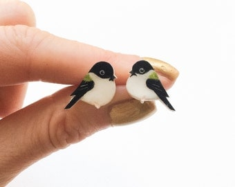 Chickadee Earrings. Hand painted bird earrings.
