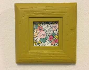 Picture Frame Upcycled Handpainted Mustard Yellow , 4x4 Photo Frame , Distressed  Frame