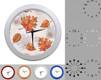 Autumn Leaf Wall Clock, Fall Foliage Nature Design, Mixed Leaves, Customizable Clock, Round Wall Clock, Your Choice Clock Face or Clock Dial