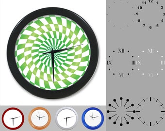 Green Radial Wall Clock, Abstract Neon Design, Artistic Linear, Customizable Clock, Round Wall Clock, Your Choice Clock Face or Clock Dial