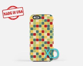 Retro Tile Phone Case, Retro Tile iPhone Case, Square iPhone 7 Case, Yellow, Square iPhone 8 Case, Retro Tile Tough Case, Clear Case, Faded