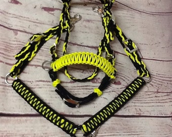 Small pony / miniature horse full bridle side pull and 5' reins and breast collar custom colors
