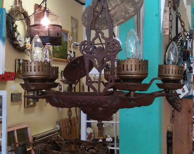 Featured listing image: Arts & Crafts Antique 5 Arm Industrial Gothic Cast Iron Chandelier, Pendant. Ceiling Mount Light Fixture. Art Deco Home Decor Free Shipping!