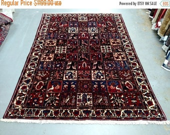 SPRING SALE 1970s Hand-Knotted Four Seasons Bakhtiari Persian Rug (1228)