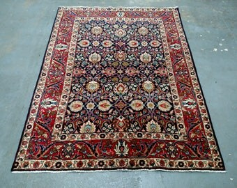 Persian Rug - 1950s Semi-Antique Hand-Knotted Tabriz Rug (3639)