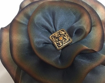 Gold Silk Flower Brooch, Silk Magnetic Scarf Pin, Magnetic Brooch, Boho Brooch