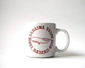 vintage Lahaina Yacht Club mug, vintage Hawaii mug, Maui mug, souvenir mug, vintage whale mug, whale mug, Hawaii souvenir mug