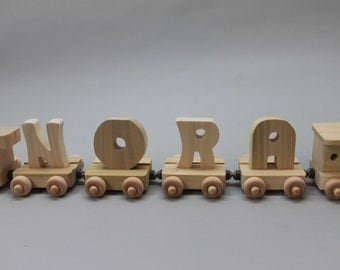 4 letter handcrafted, personalized child's wood name train