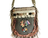 Indian purse fringed, boho crossbody bag handmade, pompon shoulderbag Native American, woman gift OOAK, fabric bags unique style