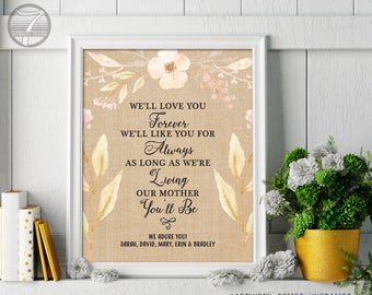 Mothers Day Gift, Custom Art Gift for Mom, Personalized Birthday Print, Gift from Kids, Love You Forever Quote // 8x10 or 11x14 Unframed