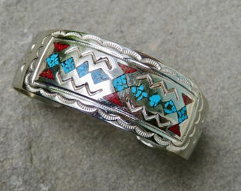 Turquoise and Coral Chip Inlay Cuff, Native American Turquoise and Coral Jewelry, Navajo Artist Signed Turquoise and Coral Bracelet