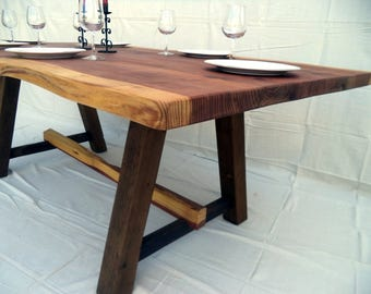 Farmhouse Live Edge Dining Table made with Reclaimed Wood ( local pick-up and delivery only please )