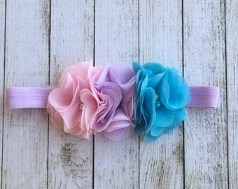 Blue Purple and Pink flower headband