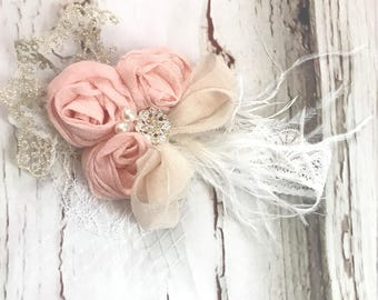 Vintage Baby Girl Flower Petal Headband with Pearls and Stones hair accessory Baby lace headband baby Birdcage headband Birthday headband