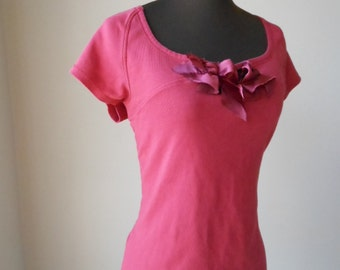 Tattered Cranberry Shirt, Shabby Rustic Red