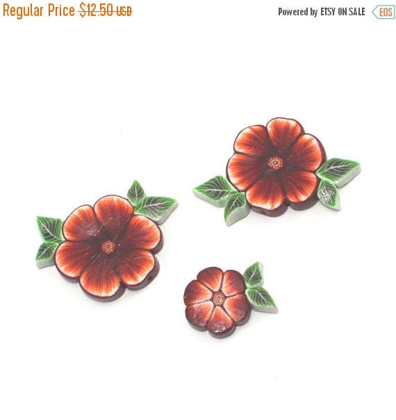 SPRING SALE Polymer Clay flower beads, unique beads in maroon, red, orange and white, elegant flower pattern, Set of 3