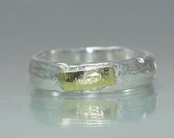 A Gold Silver Wedding  Band  Organic Wedding Ring  Rustic Wedding Ring  Unique Wedding Ring  Mens Wedding Ring Gold Silver Engagement Ring