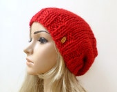Super Chunky Slouchy Beanie -  Women Wool Alpaca Hat - Red Hand Knitted Slouch Beanie - Christmas Fall Winter Hat - ClickClackKnits