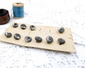 10 Antique French Unused Boot Button Mother of Pearl Buttons, Still on Card,  Vintage Sewing, Shoe Buttons, Haberdashery, Craft Supplies