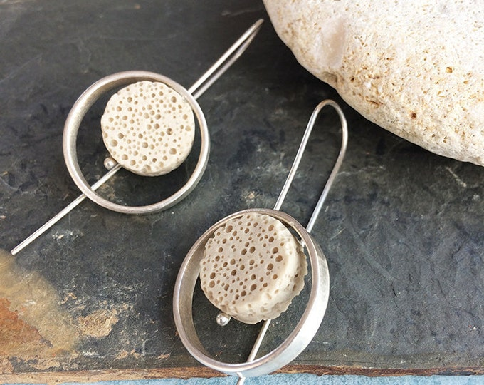 Silver and lava stone hook earrings -dangle and drop-unique contemporary silver earrings