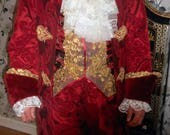 RESERVED FOR KATE Custom made costume 17th 18th century waistcoat frilled cravat hat pants custom made to your own measurements and color