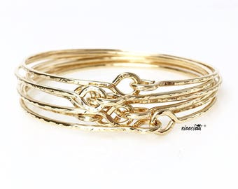 BRIDESMAID Modern Love Knot Bangles / Maid of Honor Gift / 14k Gold Filled Delicate Bangle / Rose Gold Friendship Bracelets