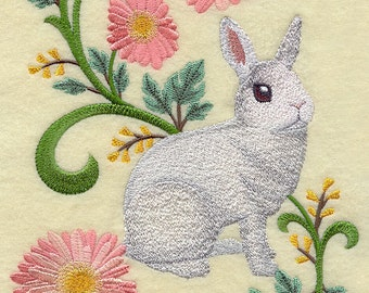 Dwarf Hotot Rabbit in Flowers Embroidered on Made-to-Order Pillow Cover