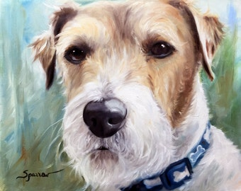 CANVAS or Watercolor paper PRINT Jack Russell Terrier/ Mary Sparrow unstretched