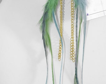 Emerald and turquoise green feather earrings