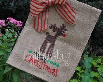 Christmas Reindeer Merry Christmas/Garden Burlap Flag