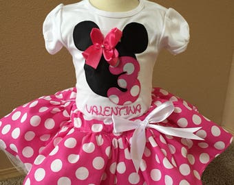 First Birthday Outfit, Minnie First Birthday, Pink Minnie Mouse Tutu, Minnie Mouse Embroidery Design, Polka dot Minnie