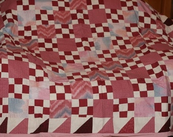 Nine Patch Pink Twin Quilt