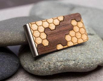 Minimalist wallet, money clip, card holder, laser cut wood, wooden money clip, boyfriend gift, husband gift, anniversary gift