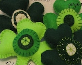 SHAMROCK BOWL FILLERS Set of Three Large Green Felt St Paddy's Day Party Celebration
