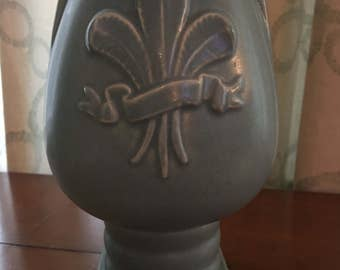 Blue Fleur-de-lis Red Wing Pottery Vase