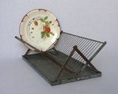 Vintage French Folding Wire Dish Drainer with Drip Tray