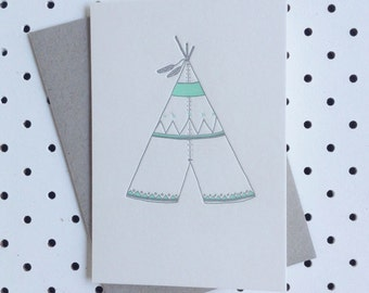 Teepee Letterpress card