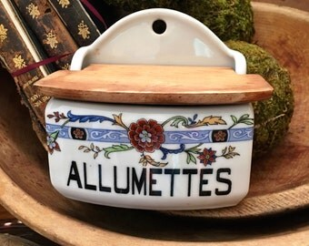 Vintage French Ceramic Allumettes Box, Wall Mount, Rustic Wood Lid, French Match Box, Striker on Base