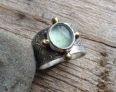Moss aquamarine saddle ring, wide band textured solid sterling silver, leaves, swirls and vines design, 4 brass balls, fits size 8 & 3/4