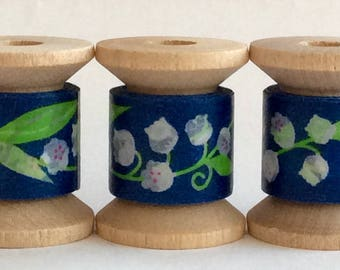"Japanese Designer Washi Tape Mini Spool SINGLE ""Lily of the Valley"" 2 yards. From Amifa of Japan."