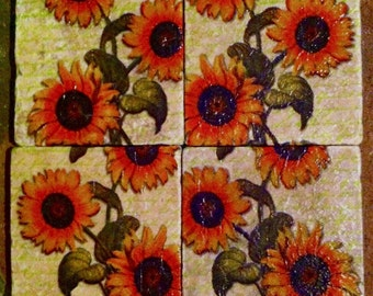 Sunflowers - Handmade Coasters Set of 4